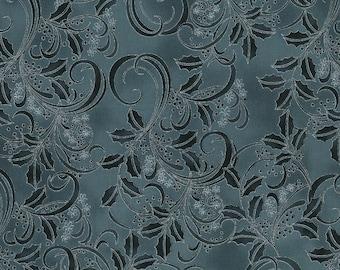 Hoffman Cardinal Carols - Holly Tonal Charcoal - Metallic Cotton Woven Fabric