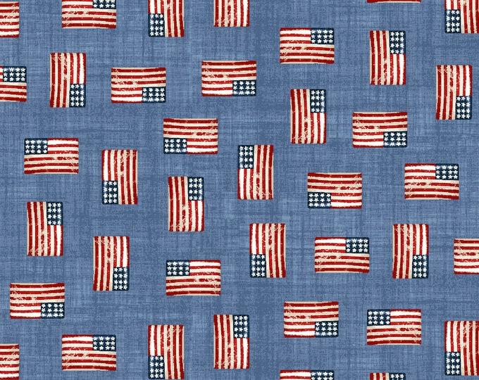 Road Trip by All American Road Trip - Mini Flags - Blue - Cotton Woven Fabric - Studio E - 4321-11