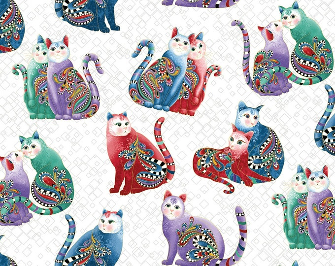 Benartex Fabrics - Cat-I-Tude 2 Purrfect Together by Ann Lauer -   Playful Cats - White - Metallic    7559MB-09 Cotton Woven Fabric