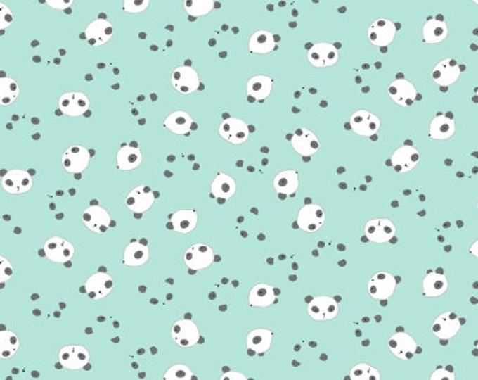 Dear Stella Fabrics - Wide Awake - Mint Panda Heads Stella-1151 Cotton Woven Fabric