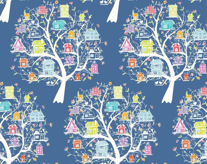 Doodle Blossom - Bird Houses - Blue - Digitally Printed Cotton Woven Fabric