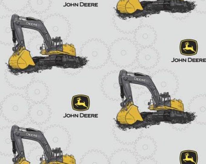 John Deere Excavator Cotton Woven on Gray