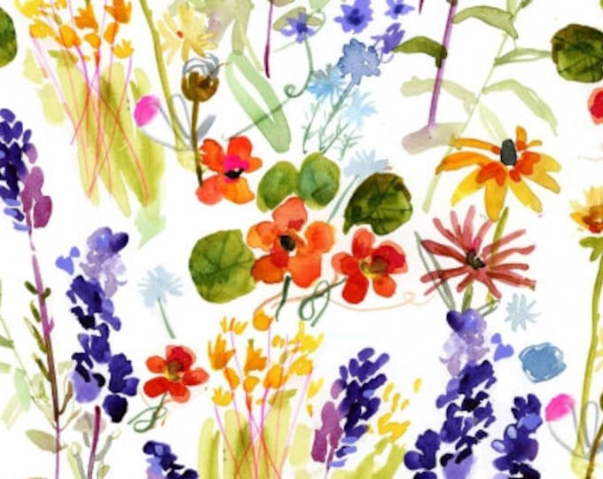 Dear Stella - High Seas by August Wren - Wild Flowers on White Stella-DAW1360-White - Cotton Woven Fabric