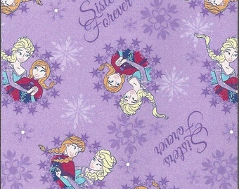 CLEARANCE -        Frozen Sisters Forever Flannel- Price is per yard !