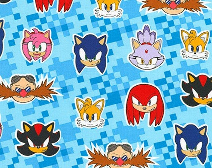 Robert Kaufman Fabrics - Licensed Sonic the Hedgehog - AXX-73952-4 BLUE - Cotton Woven Fabric