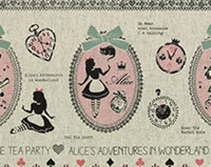 Lecien Fabrics - A Girl's Story - Alice in Wonderland  40697-10 Alice double border-Pink with gray/taupe bow
