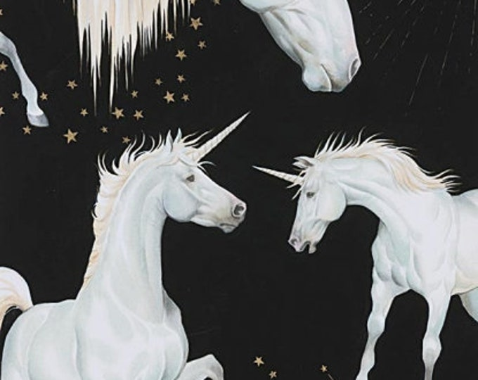 Alexander Henry, Black Stars of the Sky  Unicorns Cotton Woven Fabric
