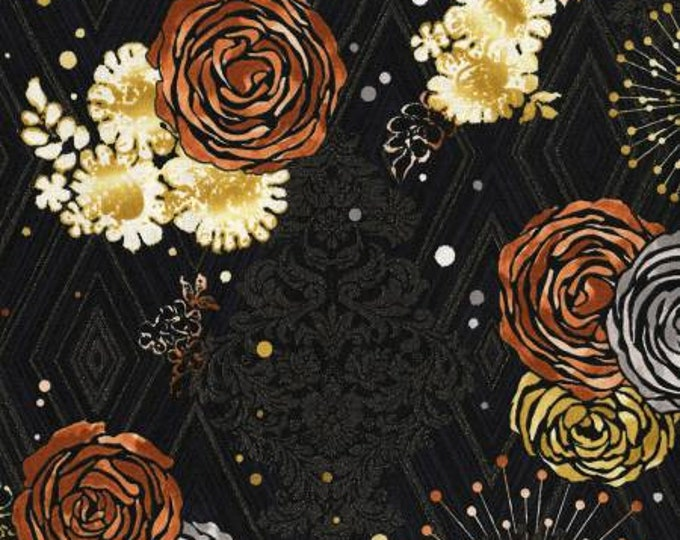 Adornment- Radiant Rose Gold Metallic Cotton Woven Fabric Flaurie & Finch for RJR