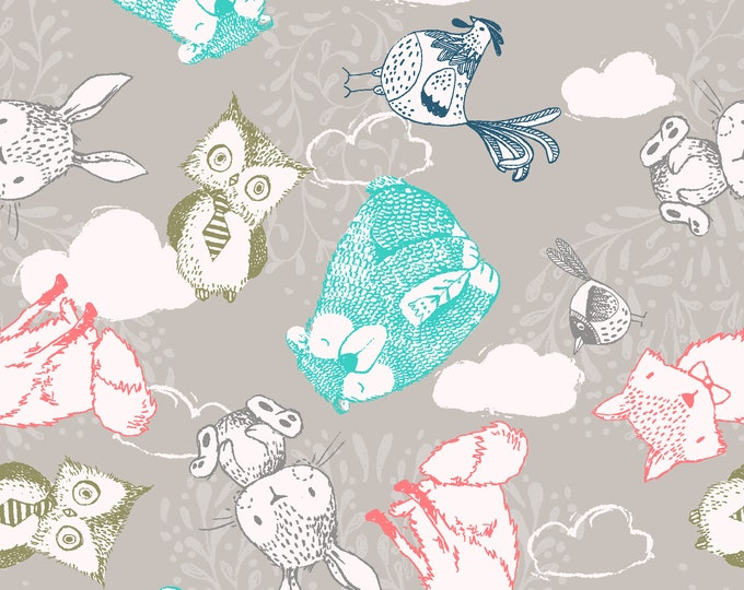 Fabric Editions  - Little Thicket - Animals Cotton Woven Fabric #14529-LT GRAY