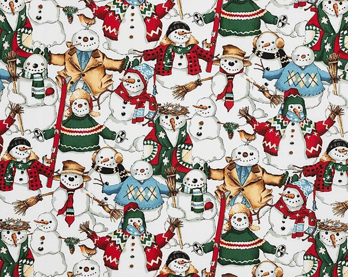 Alexander Henry Fabrics - Christmas Time - Natural Snow Friends #147a - Cotton Woven Fabric