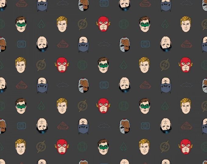 Camelot Fabric - Justice League Activated - Grey League Outline Cotton Woven Fabric