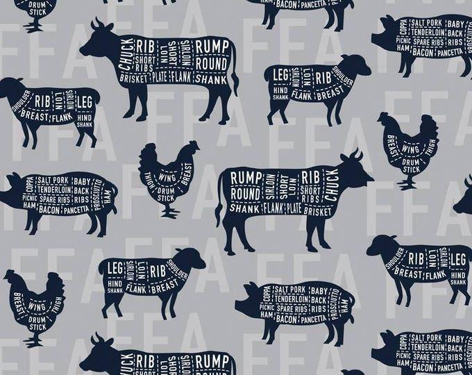 FFA Future Farmers of America Meat Cuts Gray cotton woven fabric