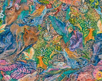 3 Wishes Fabric - Ray of Hope by Josephine Wall - Animal Faces Digitally Printed # 16051-MUL - Cotton Woven Fabric