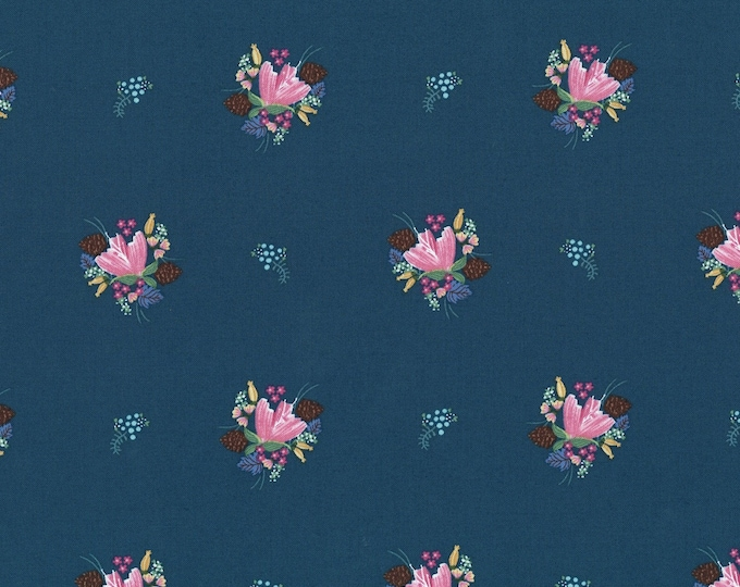 Michael Miller Fabrics - Little Sewists by Little Lizard King - Blue Soul Blossom # DC8464-BLUE - Cotton Woven Fabric