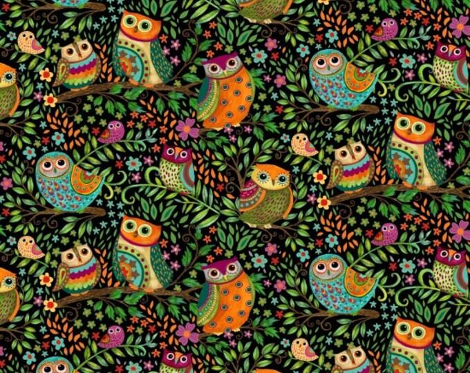 Owls on Black #1512-99 - Spring Awakens by Debi Hron for Henry Glass Fabrics