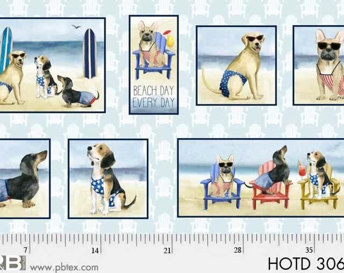 """P & B Textiles - Coastal Kitty and Hot Dogs by World Art Group - Multi Hot Dog 24"""" Panel #HOTD3069PA Cotton Woven Fabric"""