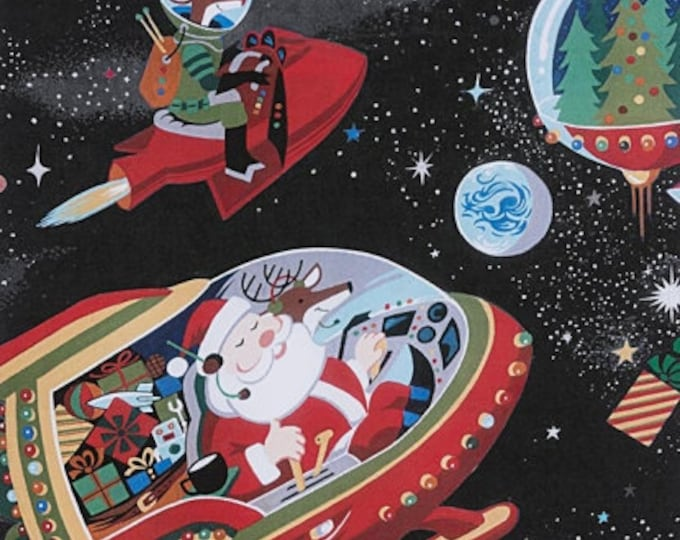 Black Santa in Space Cotton Woven by Alexander Henry