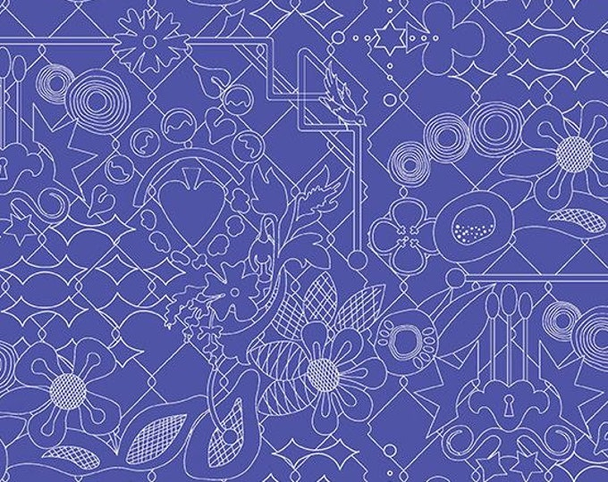 Andover Fabrics - Sun Print 2017 by Alison Glass -   A-8482-B Overgrown design in Sapphire Cotton Woven Fabric