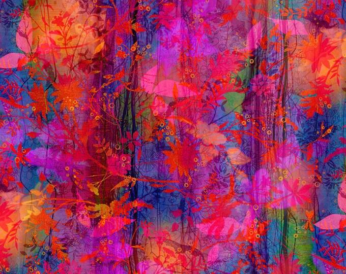 P&B Textiles - Iridescence - Multi Batik Floral   #IRID248-MU Cotton Woven Fabric
