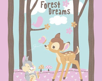 CLEARANCE -       Bambi and Thumper, Woodland Dreams cotton fabric panel Pink and Aqua