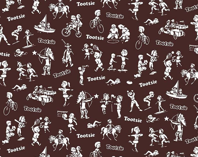 Tootsie Wrappers on Brown cotton woven fabric by Riley Blake