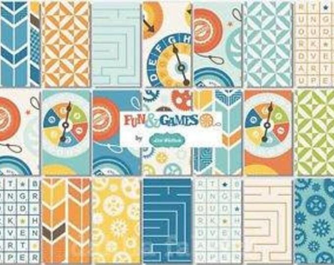 "Riley Blake Fun & Games - 2.5"" Strips - Mini roll of 9 - Cotton Woven Fabric"