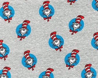 Robert Kaufman - Licensed The Cat in The Hat -ADEK-73553-12 GREY by Dr. Seuss Enterprises from The Cat in The Hat Knit - Cotton Spandex Knit