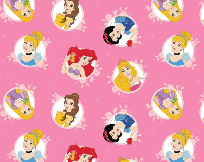 Camelot Fabric- Licensed Disney Forever Princess- Pink Princesses in Circles - Cotton Woven Fabric