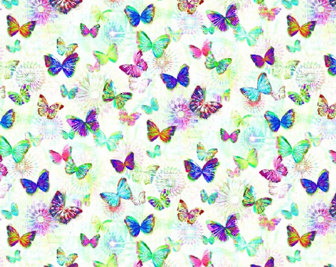 Hoffman Fabrics - Opal Butterflies 104in Wide Back Digitally Printed # WN4240H-132 - Quilt Backing   - Cotton Woven Fabric