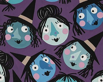 Alexander Henry Fabrics - Haunted House - Purple Which Witch is Which? #8831a - Cotton Woven Fabric