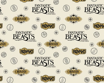 Camelot Fabric - Licensed JK Rowlings Harry Potter - Cream Sayings & Symbols on Flannel Fantastic Beasts # 2390008B-3 100% Cotton Flannel