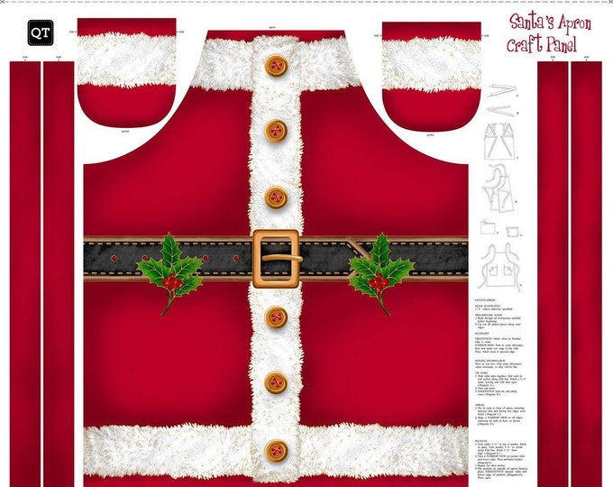 Sew and Go Santa Apron Panel measures 36 x 44 inches-Cotton Woven