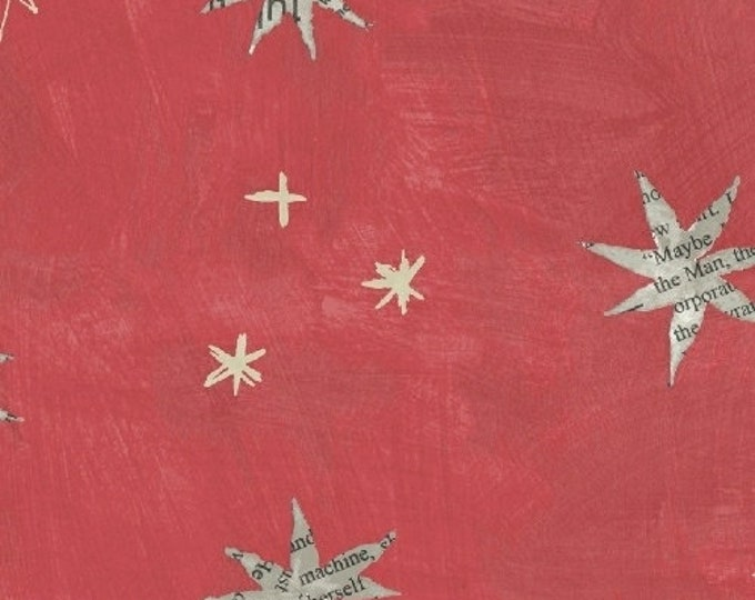 Carrie Bloomston - Wonder - Stars on Coral - Cotton Woven Fabric - Windham 50517-6