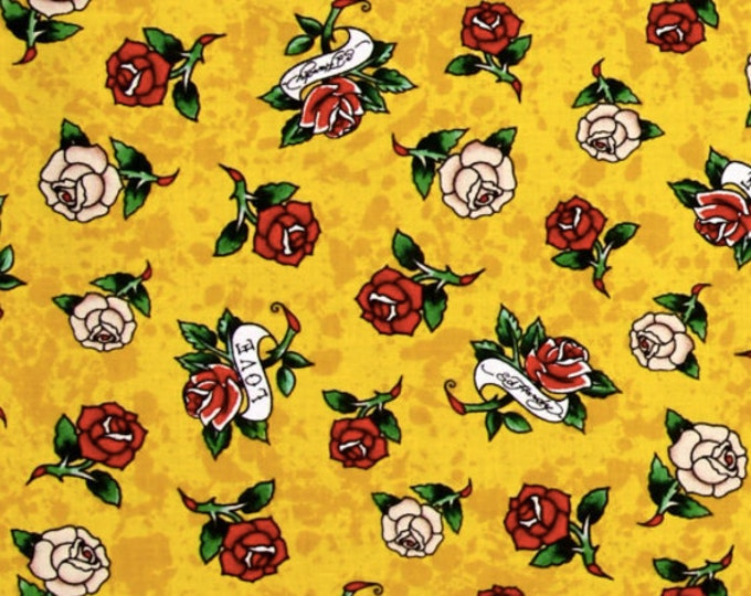 Ed Hardy Love Is True Roses Yellow, Designed by Ed Hardy and licensed to Quilting Treasures