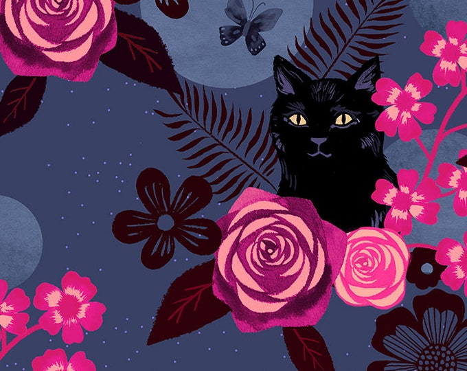 Moda Fabrics - Collaborative Collection by Ruby Star Society - Magic Cat Midnight RS5008 12R  - Rayon