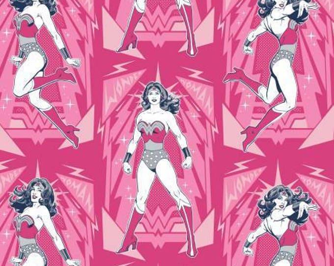 Camelot Fabric - Wonder Woman -  Magenta Poses Cotton Woven Fabrics