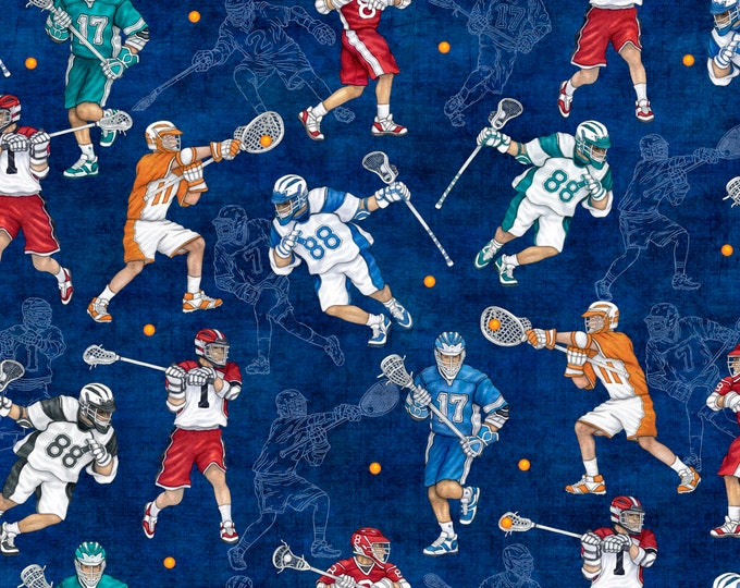 Lacrosse Gear on Royale Cotton Woven - 26704Y - Stick with It by Quilting Treasures