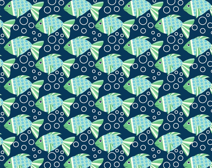 Sea Buddies - Fish with Bubbles - Cotton Woven Fabric - Blank Quilting 9316-77