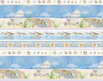 LAST PIECE - 2 yards + extra inches - Henry Glass - Coastal Paradise by Barb Gelotte Tourtillotte - Stripe #1506-11 Cotton Woven Fabric