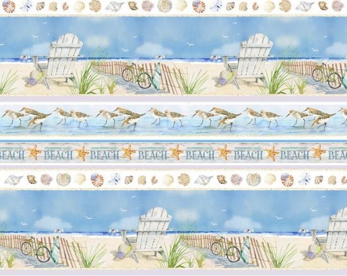 Henry Glass - Coastal Paradise by Barb Gelotte Tourtillotte - Stripe #1506-11 Cotton Woven Fabric