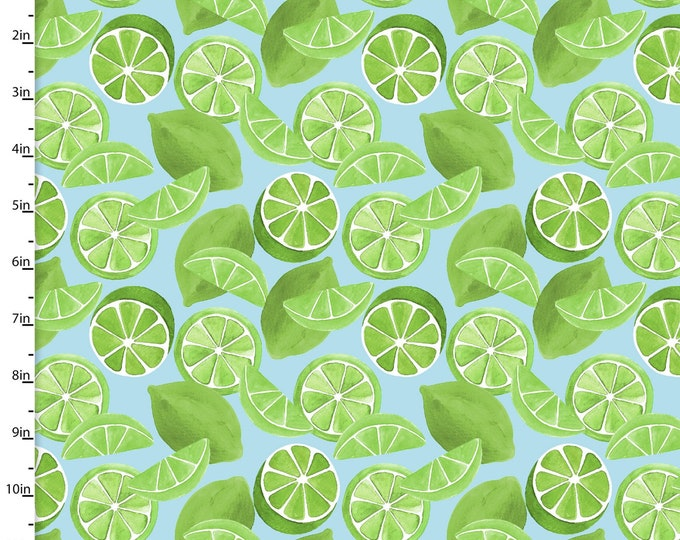 3 Wishes Fabric - Tropicale - Digitally Printed - Limes  13780 Cotton Woven Fabric