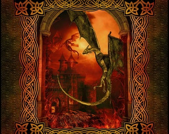"""In the Beginning Fabric - In the Beginning Dragons - 36"""" Panel 1drg_1 - Cotton Woven Fabric"""