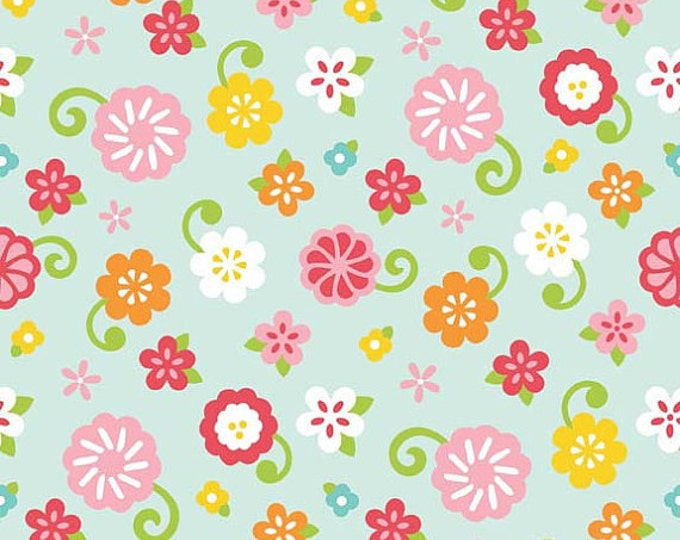 CLEARANCE  -    Riley Blake Simply Sweet Blue Flowers  - Price per yard