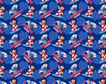 CLEARANCE - Springs Creative - Disney's Lilo and Stitch, Surf's Up Cotton Woven Fabric