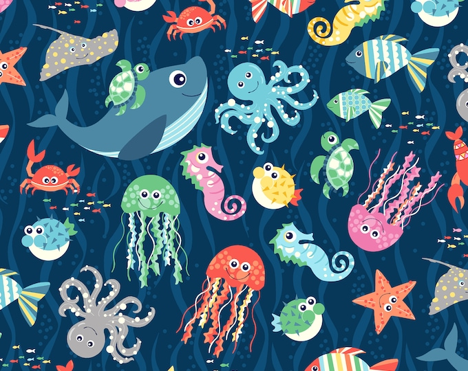 Sea Buddies - Tossed Fish & Co.- Cotton Woven Fabric - Blank Quilting 9313-77