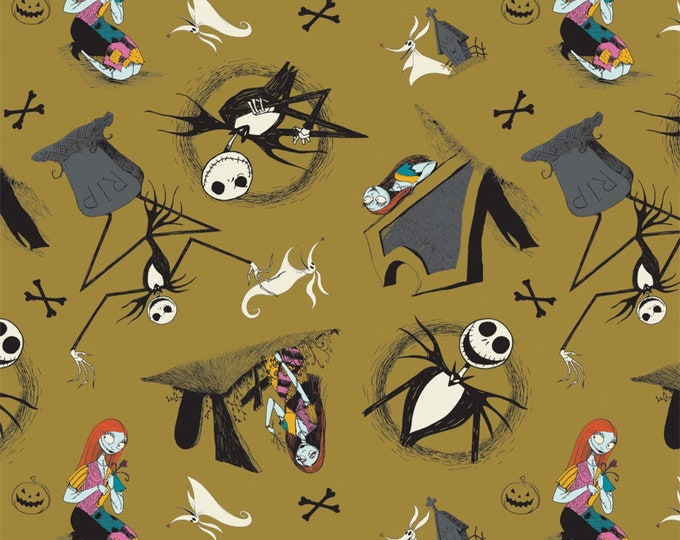 Nightmare Before Christmas - Jack is Back - Tombstones - Golden Green - Cotton Woven Fabric - Camelot