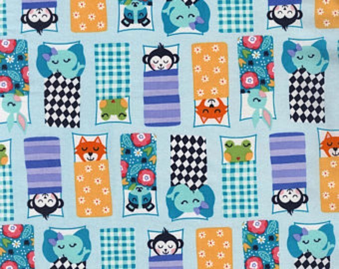 Michael Miller Fabrics  - Road Trip Happy Campers on Blue cotton woven fabric