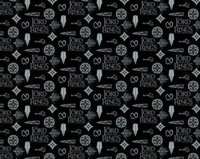 Camelot Fabrics - Licensed Lord of the Rings  - Lord of the Rings, Logo on Black Cotton Woven