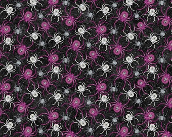 Northcott - Elegantly Frightful - Glitter Spiders on Black - Cotton Woven Fabric GL22196-99