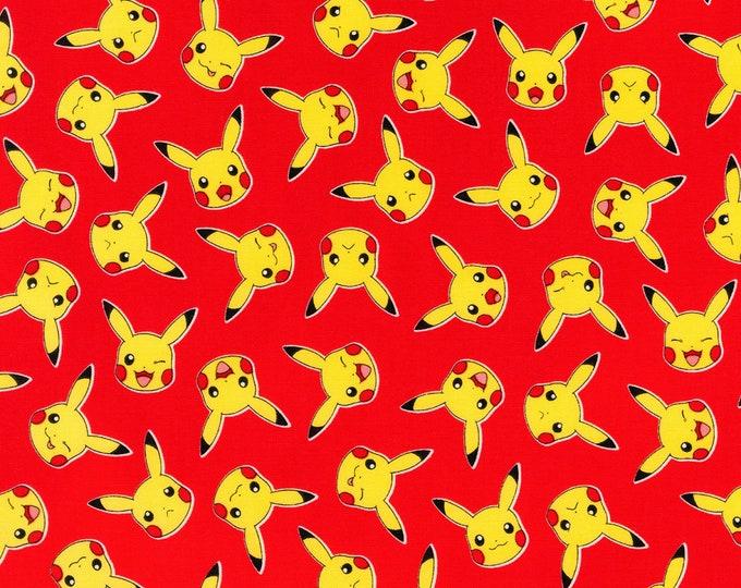 Robert Kaufman Fabrics - Pokemon - Pikachu on Red Multi Cotton Woven Fabric